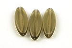 Glasperle flache Olive 30 x 11 x 5 mm rauch transparent