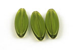 Glasperle flache Olive 30 x 11 x 5 mm grün transparent